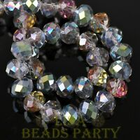 New 30pcs 8X6mm Rondelle Faceted Loose Spacer Glass Beads Bulk Rose Green