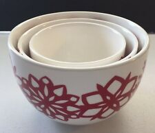 Crate & Barrel 3 Nesting Bowls White Red Snowflakes