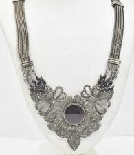 Vintage Sterling Silver Black Onyx & Marcasite Art Deco Design Necklace 59.3 Grm