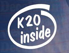 K20 dentro car/window/bumper Adhesivo-Ideal Para Honda civic/accord/integra