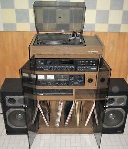 TELEFUNKEN MUSIKSCHRANK RACK mit CD-Player Receiver Plattenspieler Boxen 70er