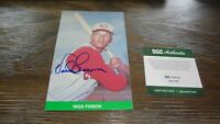 VADA PINSON AUTOGRAPHED 1984 TCMA BASEBALL CARD SGC CERTIFIED (TRIMMED)