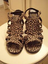 "Leopard Suede Strapped Heels~BLUES MIXED~Size 8M~Fashionable Chunky 3.5"" Heel"