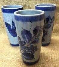 3 Mexican Tonola Pottery Blue Birds Tall Tumbler Cooler Glasses Vase Mexico