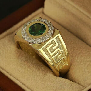 Fashion 18K Gold Rings for Men Emerald Wedding Jewelry Party Gift Ring Size 6-12