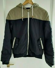 Soulcal Boy's Black & Khaki Green Quilted Padded Jacket Size S Age 13-14