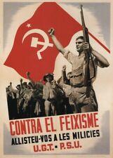 Against Fascism, 1936, Spanish Civil War Propaganda Poster