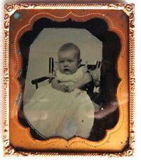 AMBROTYPE 1/6 PHOTO  bébé enfant cadre doré P300