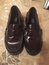 Toddler Boys Faded Glory Brown Leather Slip On Size 9.5 Dress School Shoes New