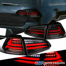 For VW 15-17 Golf GTI MK7 Pearl Black LED Rear Tail Lights Clear Brake Lamps