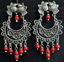 Mexican  0.925 Sterling Silver Earrings Coral and Birds Frida Kahlo Style