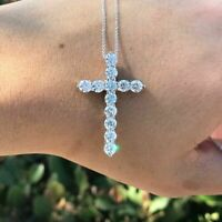 "1.5Ct Round Cut Diamond Cross Pendant W/18"" Free Chain 14k White Gold Over"