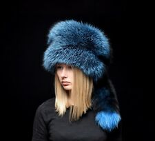Real Blue Silver Fox Fur Winter Hat Beanie Detachable Tail
