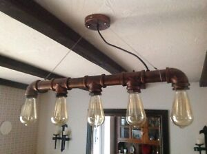 light fitting, industrial style, 5 Edison bulb fittings, hangs by wire