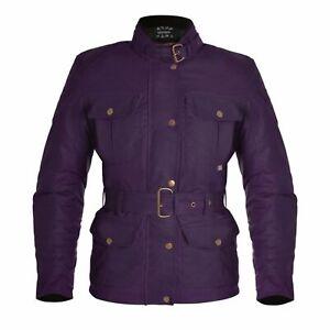 Oxford Women's Bradwell Motorcycle Motorbike Vintage Waxed Jacket - Violet