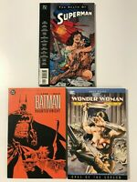 DC GRAPHIC NOVEL TPB LOT; WONDER WOMAN EYES GORGON, BATMAN, DEATH SUPERMAN