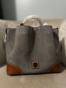 Dooney And Bourke Brenna Suede Bag Large Handbag Satchel Grey Gray New Nwt
