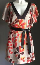 Retro Taupe/Orange/Brown Print BLUEJUICE Flutter Sleeve Lined Dress Size 10