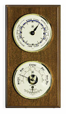 """WEATHER STATIONS - """"CAPE COD"""" TIDE CLOCK - BAROMETER /THERMOMETER ON OAK BASE"""