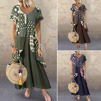 ZANZEA Women Short Sleeve Floral Maxi Dress Summer Holiday Long Dress Kaftan