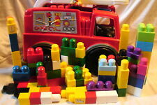 Mega Bloks First Builders Toddler Size Fire Truck Storage Wagon w/ 100+ Blocks