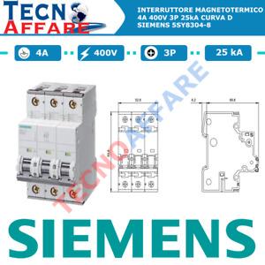 Interruttore Magnetotermico D4 4A 400V 25kA 3Poli Curva D Siemens 5SY8304-8