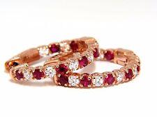 1.83ct natural vivid red ruby diamond hoop earrings 14kt rose gold