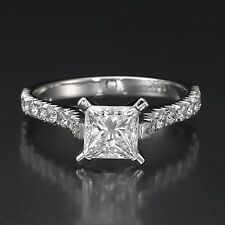 1.00 CT H/SI Enhanced Princess Cut Diamond Engagement Ring 14K White Gold