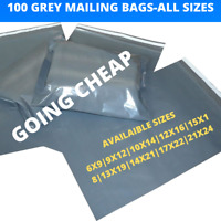 100 x Grey Mailing Bags Recyclable Post Plastic Poly Self Seal Parcel Postage UK