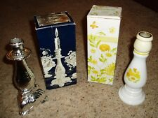 2 Vintage Avon Candlesticks Buttercup & Cologne Roses & Boxes Collectible $0 S/H