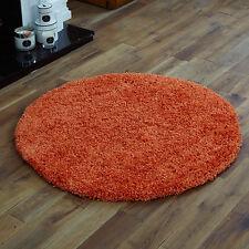 Orange Small Plain Shaggy Round Circle 110cm Rug Thick 5cm High Pile Modern Rugs