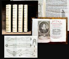 1744 Galileo Galilei Opere divise in quattro tomi 4 Vol. Astronomy Mathematics