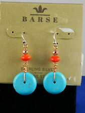 Turquoise Magnesite Coral Drop Earrings Barse Coppertone Sterling Pop A Wheelie