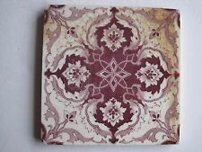 ANTIQUE VICTORIAN WALL TILE BURGUNDY ON WHITE TRANSFER - SHERWIN & COTTON