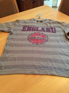 boys clothes 11-12 years Grey Striped Poly Cotton England Supporters Club Top