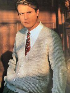 "Mens Cardigan 4 ply Size: 36""-46""  Vintage Knitting Pattern  L102"