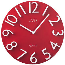 JVD HB22.3 Wanduhr Quarz analog rot rund modern