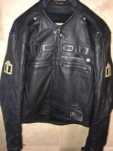 Mens Icon Motorhead Black Leather Motorcycle Racing Biker Jacket 42 44 M Medium