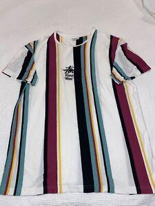 Mens striped Stussy T Shirt Size M