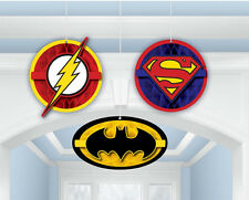 3 x Justice League Hanging honeycomb Party Decorations Batman Superman Hangers