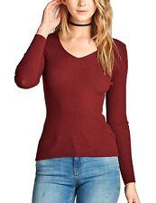 KOGMO Women's Long Sleeve V-Neck Fitted Rib Rayon Nylon Sweater Top