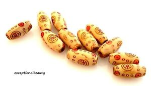 50 Wood 15x7mm Painted Print Pattern Oval Jewelry Craft Wooden Red Yellow Beads