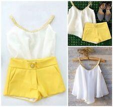 UK Chiffon Girls Baby Kids Sun Top Shirt Hot Pants Shorts Summer Outfits Clothes