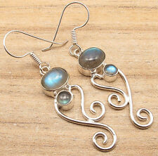 LABRADORITE Two Natural Stone Earrings ! 925 Silver Plated Fashion Week ART Gift