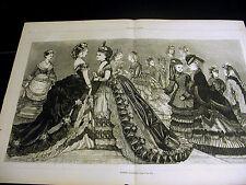 Victorian Fashion LADIES WINTER BALL GOWNS & WRAPS COATS 1872 Large Folio Print