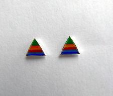 Par De Plata Esterlina 925 Rainbow triángulo Tachas!! Nuevo!!