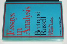 1973 RUSSELL, Bertrand. Essays in Analysis. Edited by Douglas Lackey.
