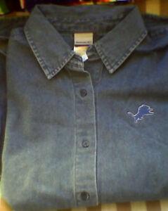 Womens Detroit LIONS Denim Dress Shirt Blue NWT S XL Classy!! REEBOK Jersey