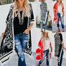 Fashio Women Boho Floral Loose Shawl Kimono Maxi Cardigan Top Cover Up Blouse CZ