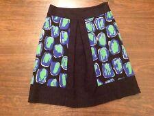 HOBBS size 8 Cotton Skirt. Blue& Green Patterns.Black Trim. Office.Cute.1950s